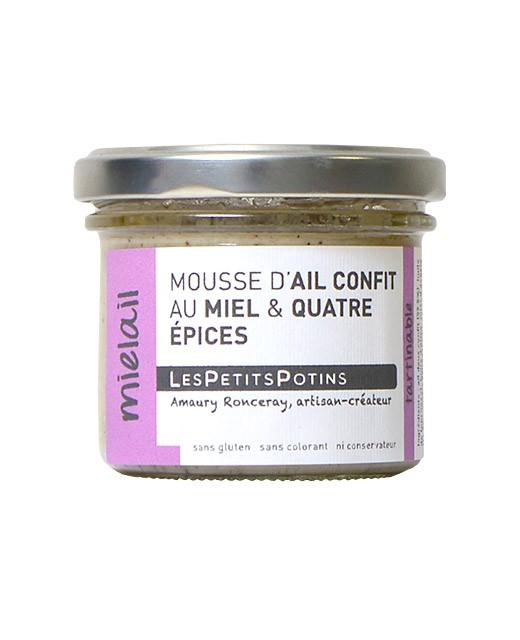 Mousse de ajo confitado con miel y 4 especias - Les Petits Potins