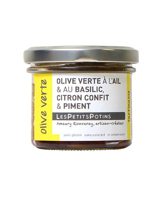 Aceitunas verdes con albahaca y ajo fresco - Les Petits Potins