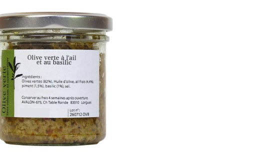 Aceitunas verdes con albahaca y ajo fresco - Les Zapéros d'Ann-Zo'